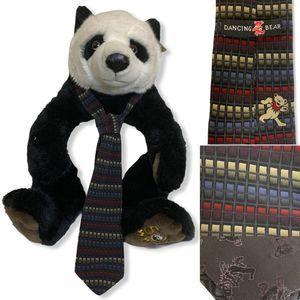 Dancing Bear Grateful Dead Geometric Silk Necktie